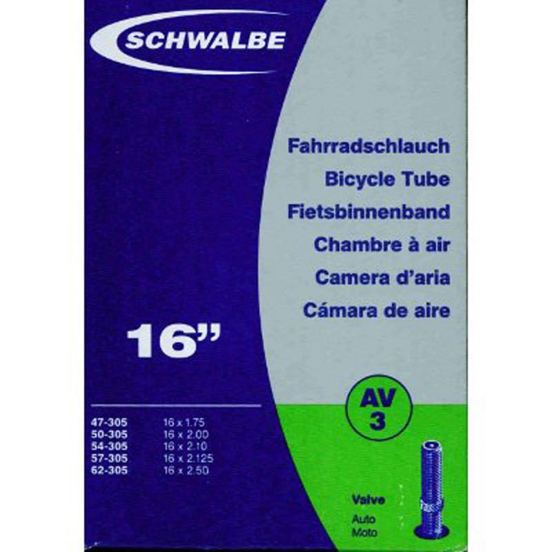 Schwalbe - Chambre à air vélo 16 x 1.75/2.50 - AV3 valve Schrader
