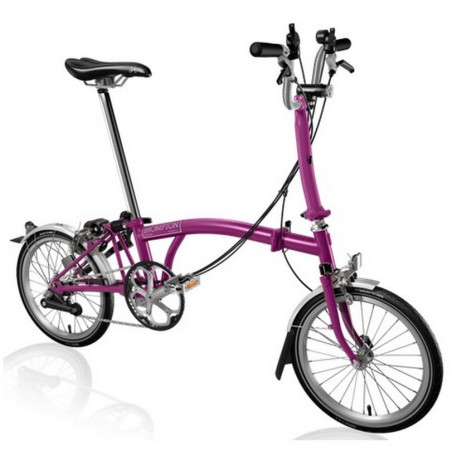 Vélo pliant BROMPTON M6L Rose Fuchsia + éclairage dynamo Shimano