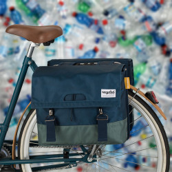 Paire sacoches vélo tissu recyclé URBAN PROOF vert bleu