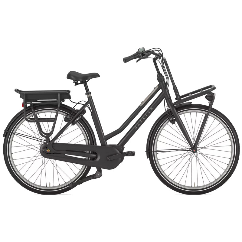 Vélo électrique hollandais cadre bas Gazelle Heavyduty C7 noir S/49 (de 1m65 à 1m85)